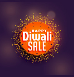Happy diwali sale background with mandala vector