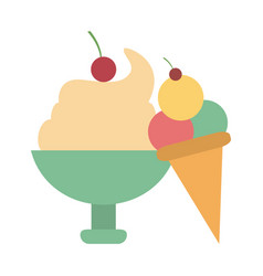 ice cream cup and cone vector image