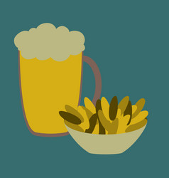 Icon in flat design for restaurant beer and nuts vector