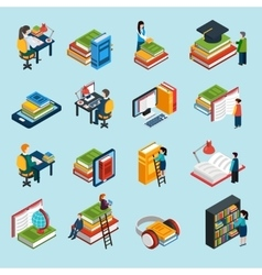 Library Isometric Icons Set vector