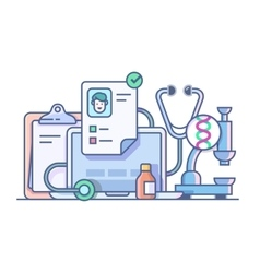 Medical stethoscope microscope accessories vector image