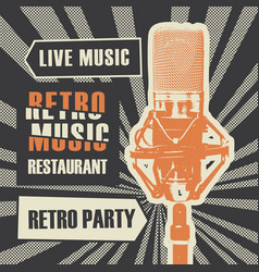 menu for retro music restaurant with microphone vector image
