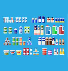milk products in various packages vector image