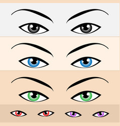 Multiple colored womens eyes set vector
