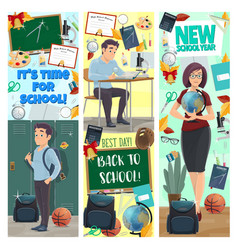 new school year banners with studen and teacher vector image