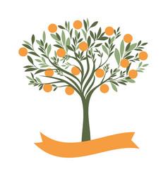 orange tree with blank label on white background vector image