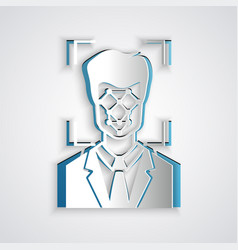 Paper cut face recognition icon isolated on grey vector