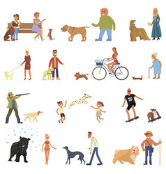 people with dogs set vector image