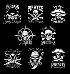 Pirate skull with crossbone jolly roger icon set vector