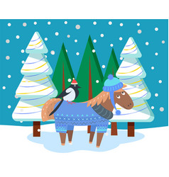 postcard animal in snowy forest xmas vector image
