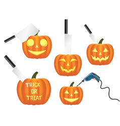 pumpkins with knives and electric drill vector image