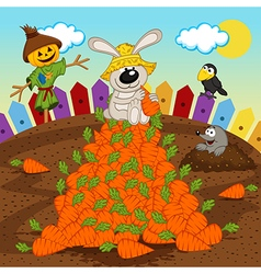 rabbit harvesting carrot vector image