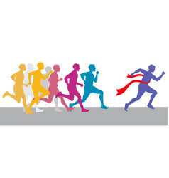 Racing people and winning runner marathon vector