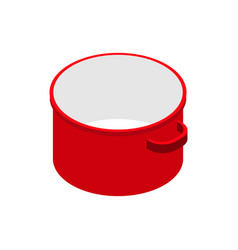 Red open empty saucepan isolated isometric vector