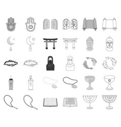 Religion and belief monochromeoutline icons in vector