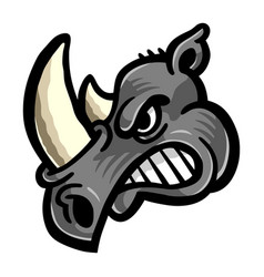 rhino horns animal cartoon icon vector image