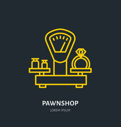 Ring on scales in pawnshop jewelry vector