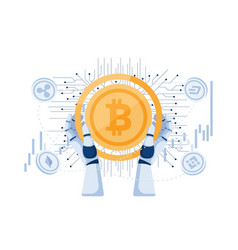 robot hand holding bitcoin and other vector image