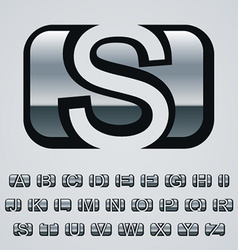 Rounded square chrome font alphabet vector