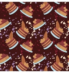 seamless pattern of colored cakes and vector image