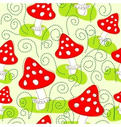 Seamless pattern with mushrooms vector