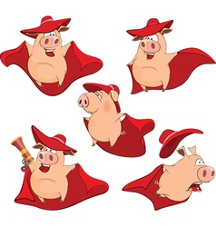 Set Cartoon Cute Pigs in Superhero vector image