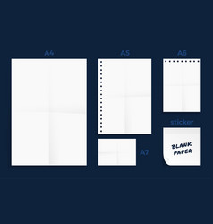 set crumpled four standart blank series a vector image