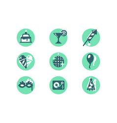 set icons with ice cream balloon masquerade mask vector image