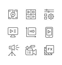 set line icons of video vector image