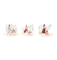 Set modern young moms walking with newborns vector