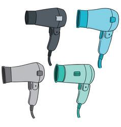 set of hair dryer vector image