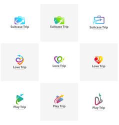 set of travel logo design template vector image