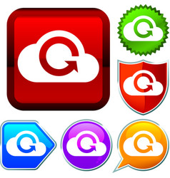 Set shiny icon series on buttons cloud computing vector