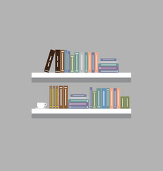 Shelf with colorful books on it with flat color vector