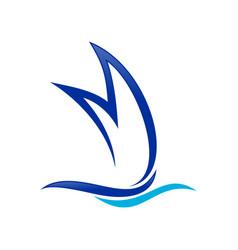 ship shape initial m lettermark symbol design vector image