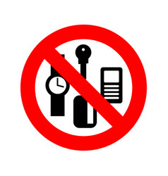stop personal things ban keys and phone cards and vector image