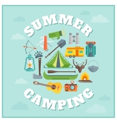 Summer Camping Round Design vector image