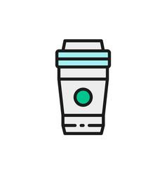 take-away drink coffee tea flat color vector image