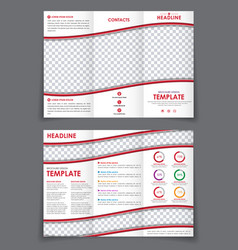 Template folding brochure with red wavy elements vector