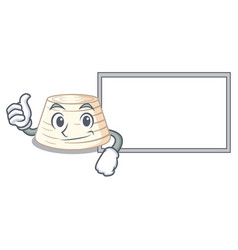 Thumbs up with board ricotta cheese icon in vector