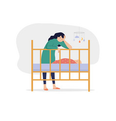 tired mother with basuffering with postnatal vector image