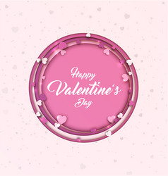 Valentine s day background paper art with hearts vector