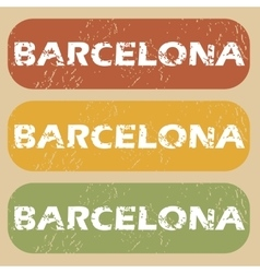 Vintage Barcelona stamp set vector