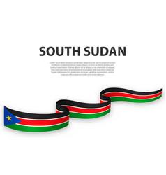 Waving ribbon or banner with flag south sudan vector