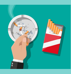 white ceramic ashtray full of smokes cigarettes vector image