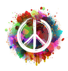 White peace hippie symbol on colorful background vector