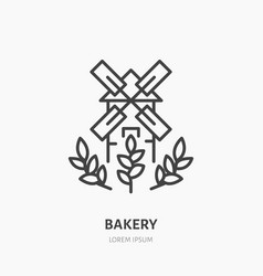 windmill with ears of wheat bakery logo flat vector image