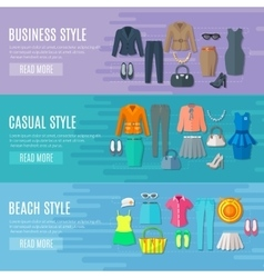 Woman Clothes Horizontal Banners Set vector