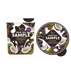 Coconut chocolate Yogurt Packaging Design Template vector image