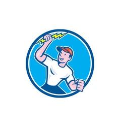Electrician Holding Lightning Bolt Circle Cartoon vector image vector image